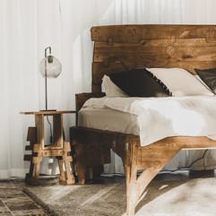 Oak bed handmade vabi-sabi — room design closeup