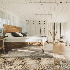 Oak bed handmade vabi-sabi in room design