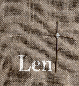 Word Lent Painted on Burlap Background w