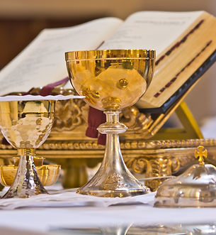 on the altar of the pyx and chalice mass