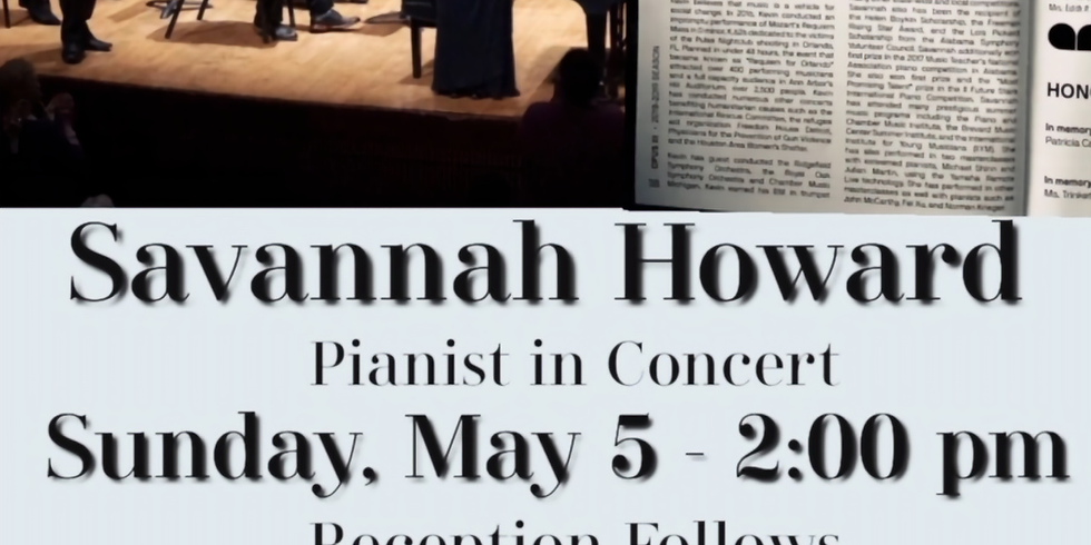 Savannah Howard Piano Concert