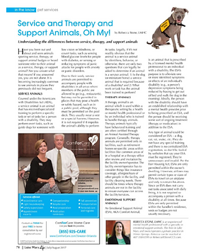 Image of Rebecca's magazine article about Emotional Support Animals