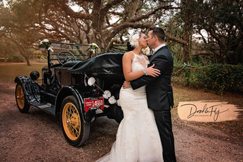 Harry Potter Themed Wedding, Antique Car (Tin Lizzy) at the beautiful Arching Oaks Ranch Photo By Doodle Fly Photography www.DoodleFlyPhotos.com