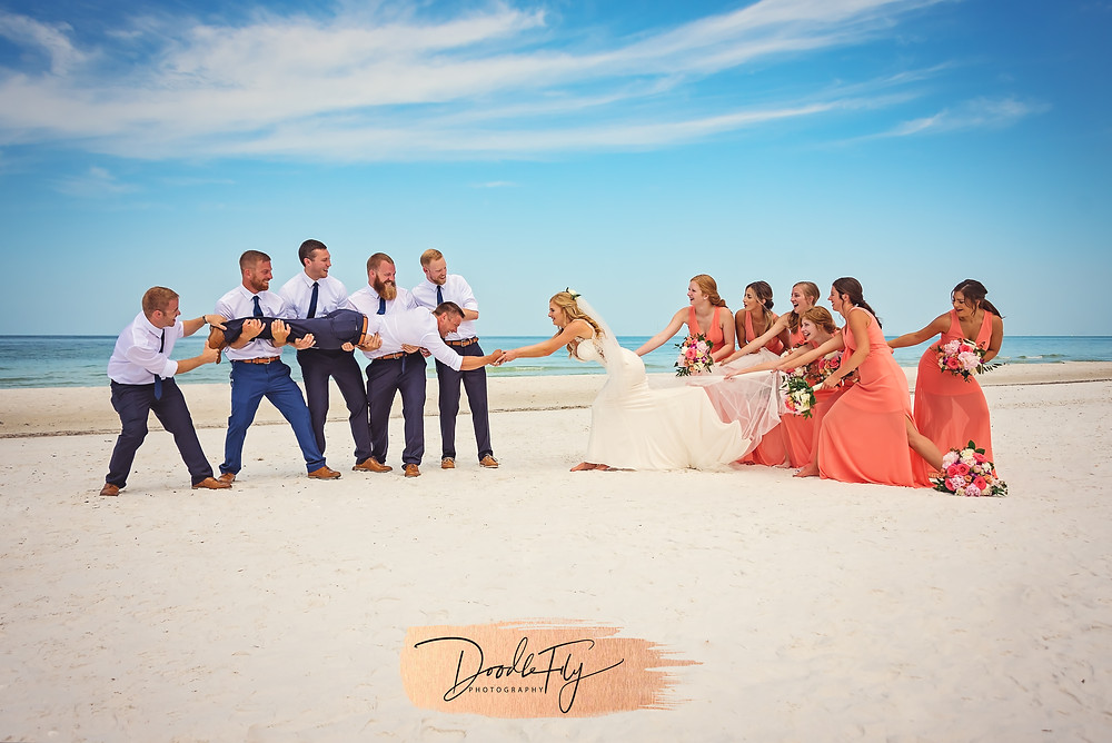 Fun Wedding Party Portrait. by Doodle Fly Photography