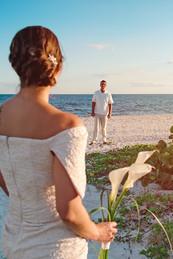 Bride & Groom First Look, Beach Wedding, Sundial Beach Resort, Sanibel FL, Destination Wedding, by Doodle Fly Photography
