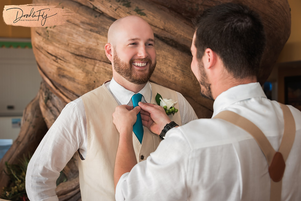Wedding Photos, Groom Getting Ready, Adjusting Tie, Best Man, Getting Ready, Fort Myers Beach, Pink Shell Resort, Wedding Photography,