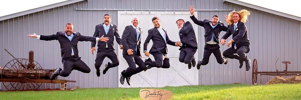 Groomsmen, Jumping Photo, Wedding Party, Barn Wedding, Country Wedding, Venue Naples Wedding Barn, Naples Florida, Wedding Photos by Doodle Fly Photography, Florida Wedding, SWFL Wedding, Naples Wedding