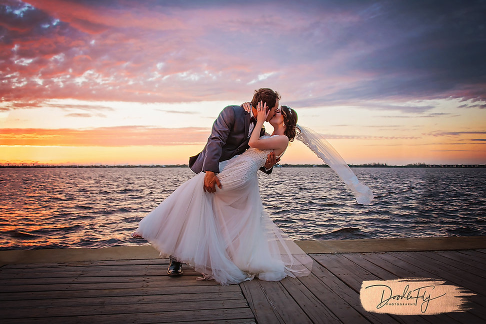 Bride & Groom Wedding Sunset Portrait @ Edison & Ford Marina, Fort Myers FL, by Doodle Fly Photography