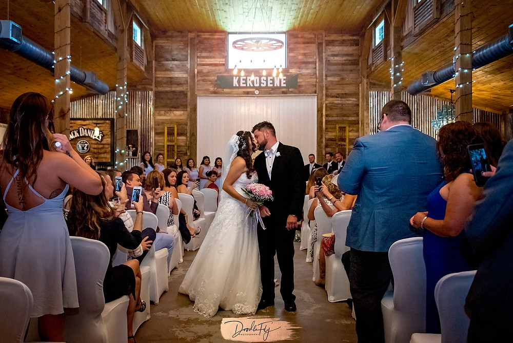 Bride and Groom, KISS, Barn Ceremony, Barn Wedding, Country Wedding, Venue Naples Wedding Barn, Naples Florida, Wedding Photos by Doodle Fly Photography, Florida Wedding, SWFL Wedding, Naples Wedding