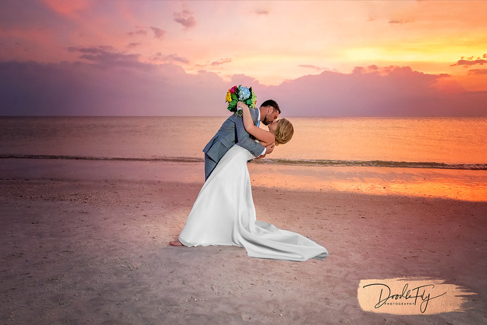 Forever Us.  Bride & Groom Sunset Photo Captured Naples Beach, by Doodle Fly Photography