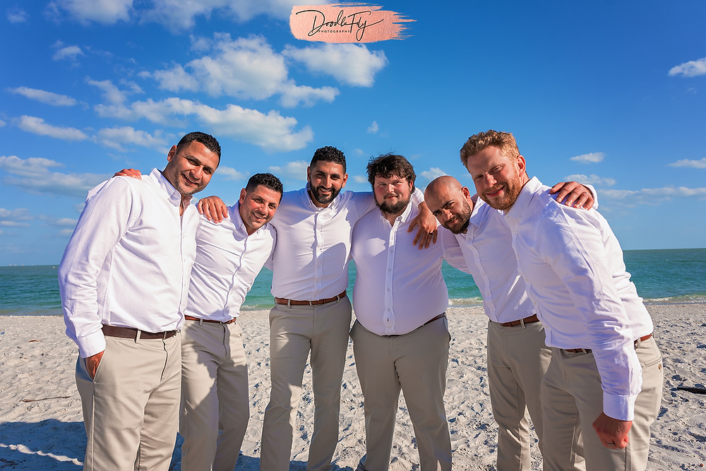 Wedding Party On Beach after Ceremony, 2021 Wedding Sundial Resort, Sanibel Florida Wedding, Doodle Fly Photography Beach Wedding SWFL