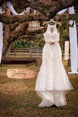 Beautiful Hanging Wedding Dress SHot at Arching Oaks Ranch, Labelle, Photo By Doodle Fly Photography www.DoodleFlyPhotos.com