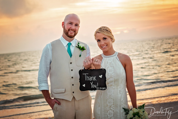 Wedding Photos, Thank You, Thank You Sign,  Bride & Groom, Fort Myers Beach, Pink Shell Resort, Wedding Photography,