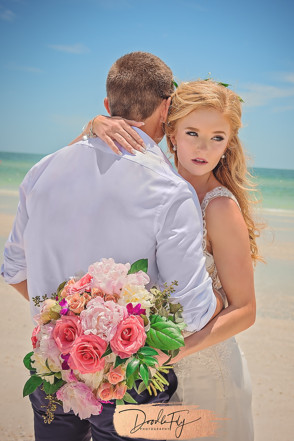 Bride & Groom Portrait, Beach Wedding,  by Doodle Fly Photography