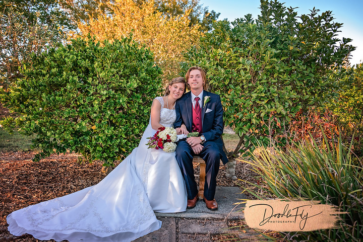 Young Love:  Bride & Groom Portrait at Lakes Park, Fort Myers Florida Photo By Doodle Fly Photography www.DoodleFlyPhotos.com