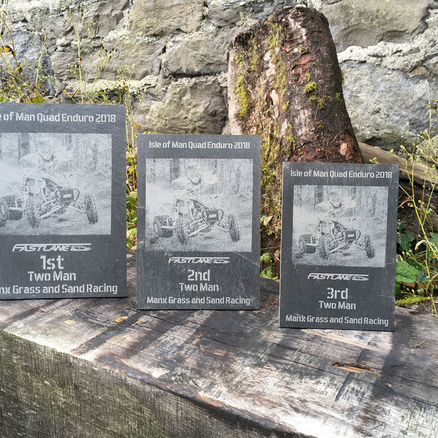 Isle of Man Quad Enduro naturally riven Welsh slate awards with integral stands laser etched with photograph and text.