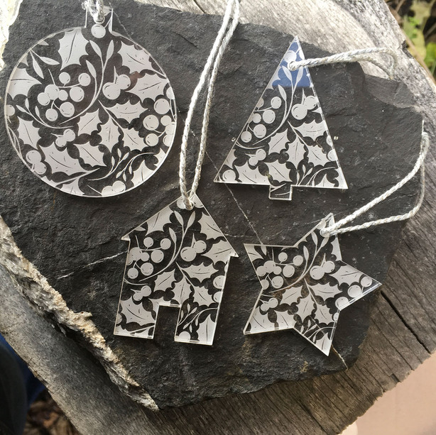 Holly etched Tree Decorations