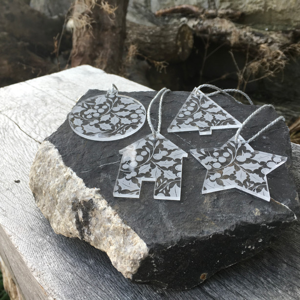 Holly etched acrylic baubles