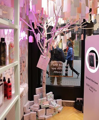 A creative POP-up for retailer Birchbox on Carnaby Street. A wish tree was installed as well as a selfie booth for their customers. Designed, created and Installd by Stylo