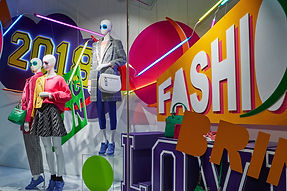 Retailer Debenhams 'Bring it on' campaign at their London Oxford Street store. This retail window was created designed and installed by Stylo. Full of 3D fabrication, all components were made from recycled or recyclable materials