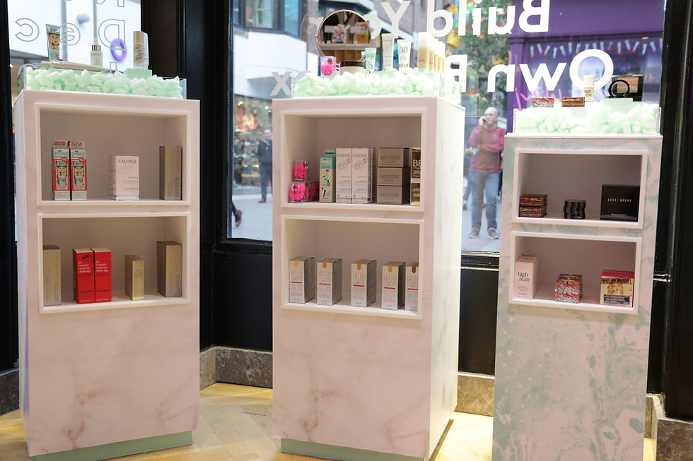 Display plinths created and installed by Stylo for retailer Birchbox at their POP-up store in London Carnaby Street
