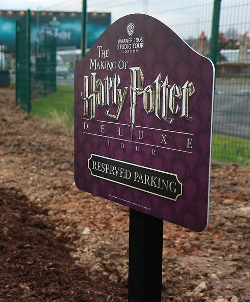 Exterior signage for Harry Potter Tour Warner Brothers London