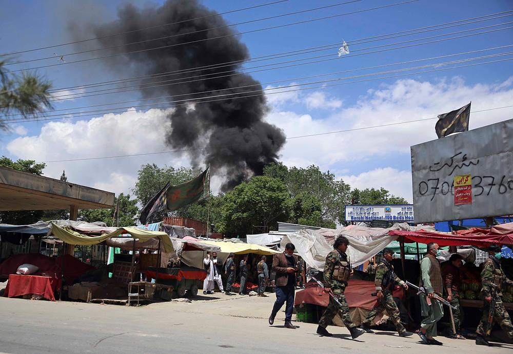 Smoke Rising from Maternity Hospital Attack in Kabul in May 2020, © 2020 AP Photo/Rahmat Gul