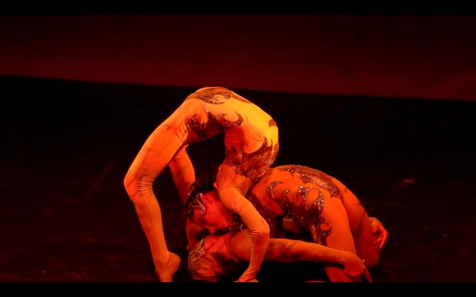 "Choreography: Valeria Solomonoff and contortionists/dancers Contortionists/dancers: Anna Venizelos and Olga Karmansky Music: ""Hora Cero"" by Astor Piazzolla This piece was created as part of Amanda Topaz ""Circo de La Luna"" in NYC in April 2016"