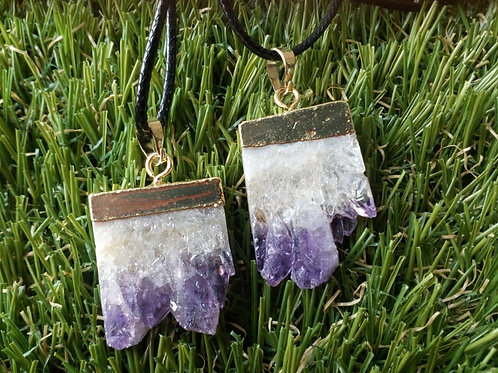 Amethyst crystal Natural Rough pendant with chain