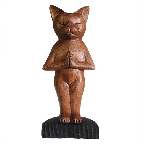 Wooden Yoga Cat Standing position - Hand Carved - Made in Bali