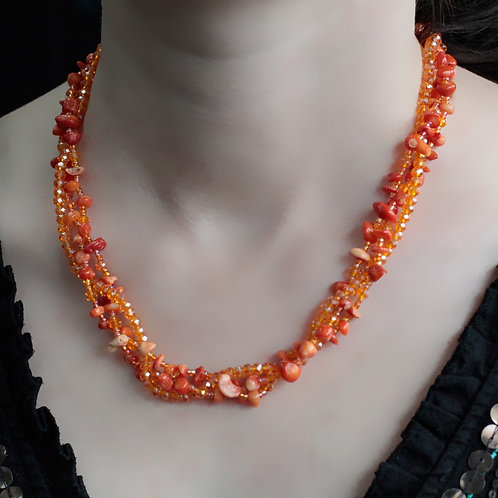 Orange Coral Crystal chip stone and Bead Necklace