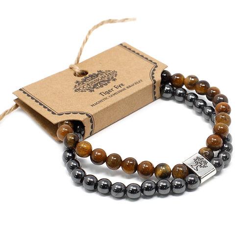 Tiger Eye Magnetic Crystal Gemstone Double Bracelet