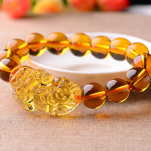 Feng Shui Yellow Crystal Pi Yao (Pi Xiu) Bracelet For Wealth - 10mm bead