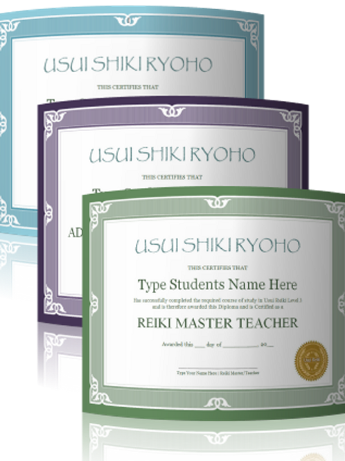 Reiki 1, 2 and 3 certificate templates (63 different coloured templates)