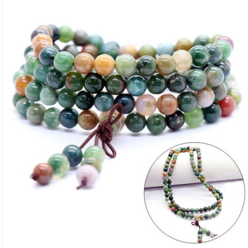 India Agate Tibetan Buddhist 108 Beads Mala Bracelet - 6mm Bead size