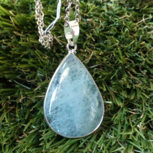 Aquamarine Crystal Pendant with chain