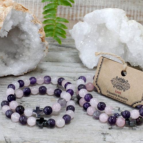 Love - Amethyst and Rose Quartz Crystal - Set of 2 Friendship Bracelets