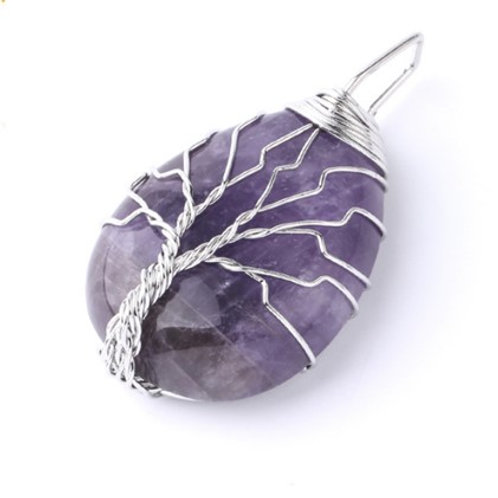 Amethyst Tree of life crystal Pendant with chain
