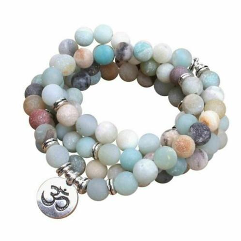 Amazonite Ohm Tibetan Buddhist 108 Beads Mala Bracelet - 6mm Bead size