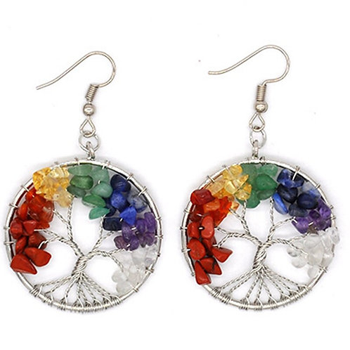 Tree of Life Chakra Crystal Earrings