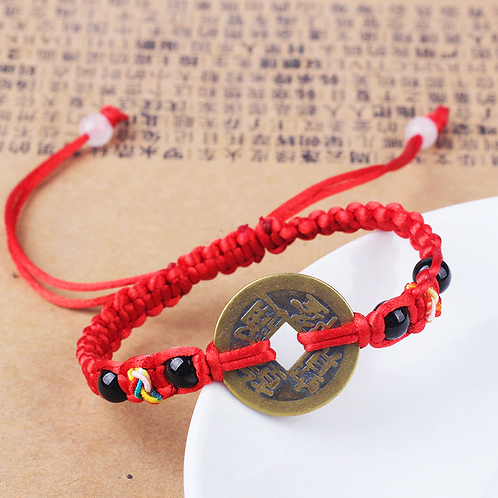 2 Stone Good Luck Chinese Emperor Money Coin adjustable rope bracelet