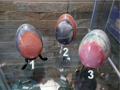 Natural stone polished multi-layered marble eggs with stand