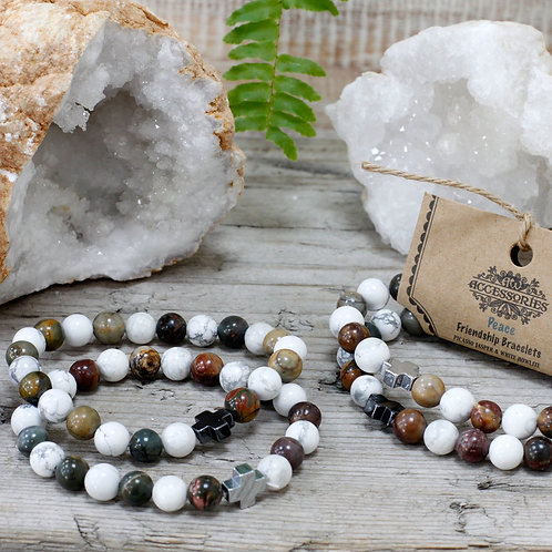 Peace - Picasso Jasper and White Howlite Crystal - Set of 2 Friendship Bracelets