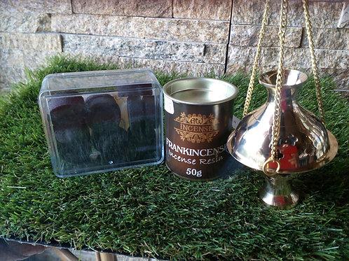 Complete Hanging Brass Incense Burner - Resin and Charcoal - Gift set
