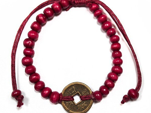 Good Luck Feng Shui Bracelet - Red - Made in Bali
