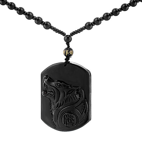 Black Obsidian Wolf Crystal Gemstone Pendant with necklace
