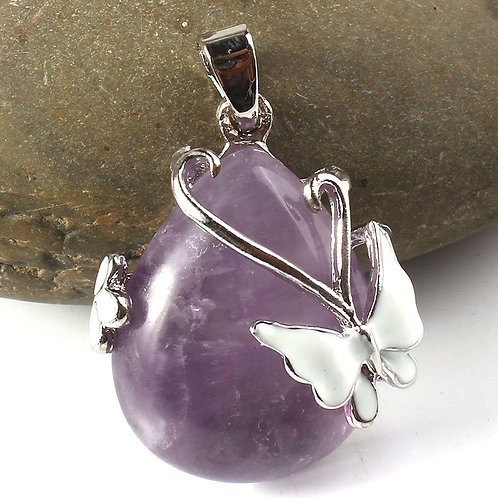 Amethyst water droplet Pendant with Silver Plated Butterfly and chain
