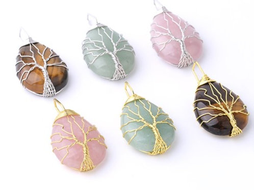 10 x Crystal Tree of life Pendant with chain