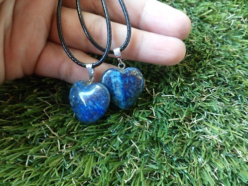 Lapis Lazuli heart crystal pendant with chain