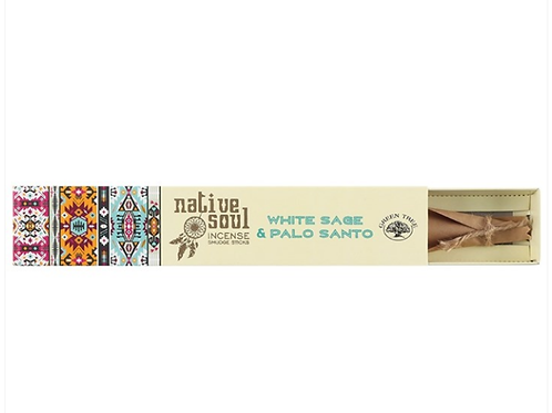 NATIVE SOUL WHITE SAGE and PALO SANTO INCENSE STICKS - 15g.